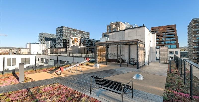 Særdeles flott takterrasse med fantatisk utsikt, sittegrupper og beplantning