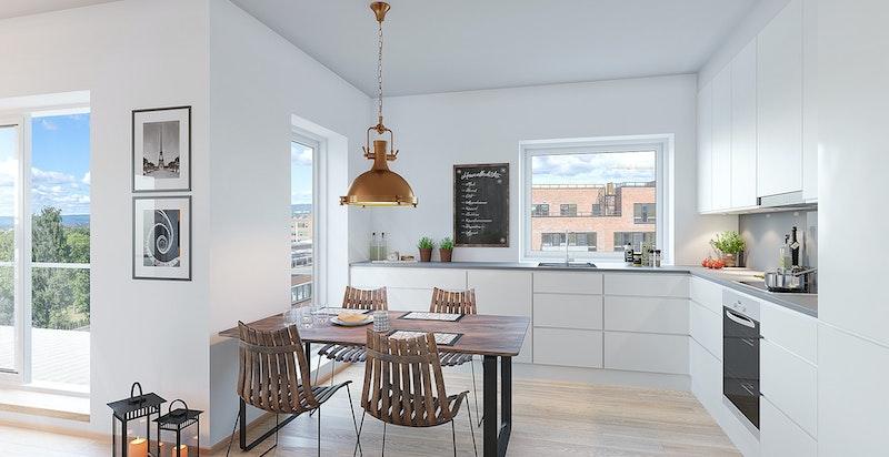 Kunstnerisk illustrasjon - kjøkken fra sigdal Horisont med hvite fronter, hvit laminat benkeplate og integrerte hvitevarer fra Siemens.