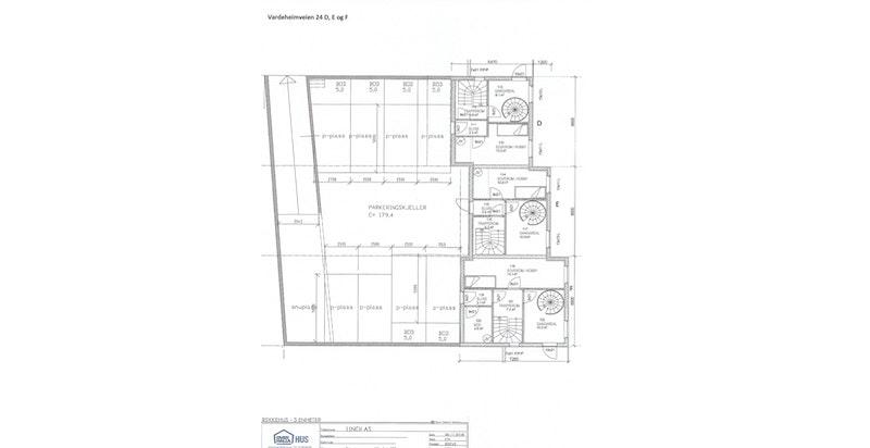 Plantegning U-1 (parkeringskjeller med inngang direkte til hver bolig) - NB! Avvik kan forekomme