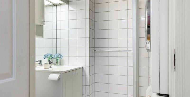 Dusjbad/wc med opplegg vaskemaskin/tørk