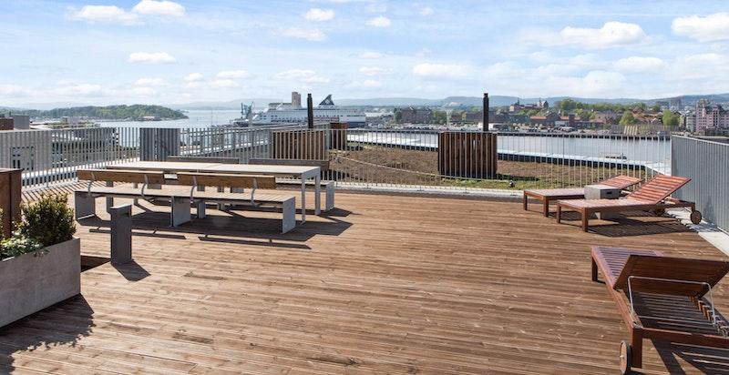 Felles takterrasse med panoramautsikt og sol hele dagen