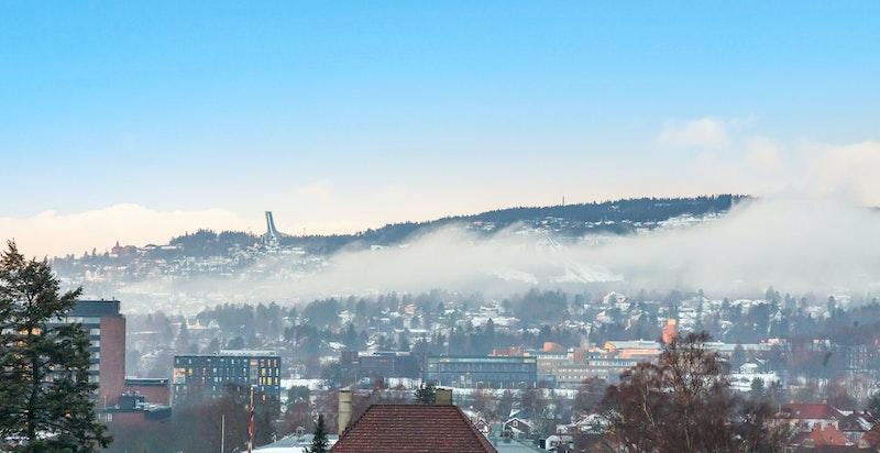 Oversikt over byens tak, her mot Holmenkollen.