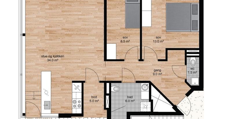 Planskisse 8. etasje. Privat takhage på 55 m² kommer i tillegg