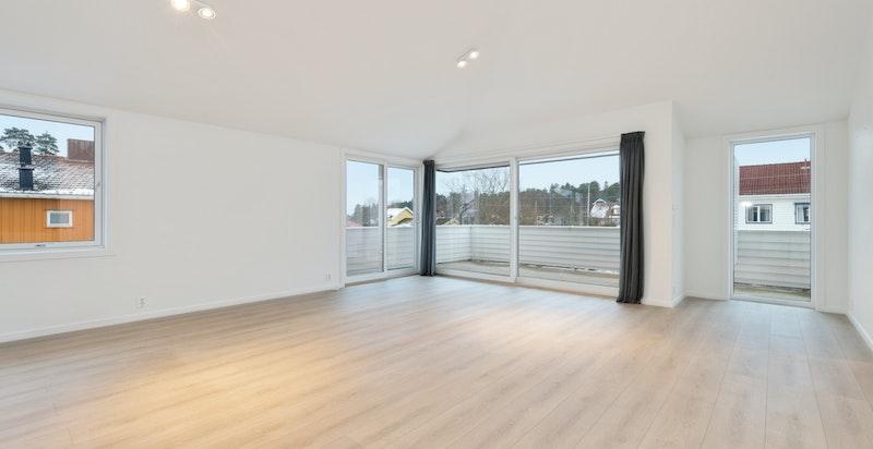 Meget romslig stue med utgang flott terrasse, her uten møbler