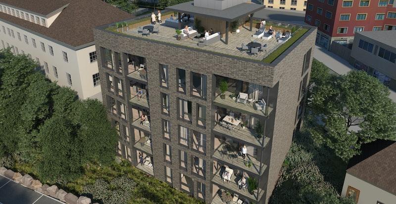 Balkong eller terrasse på mange av leilighetene. Flotte siktlinjer. Illustrasjonsbilde - avvik vil forekomme