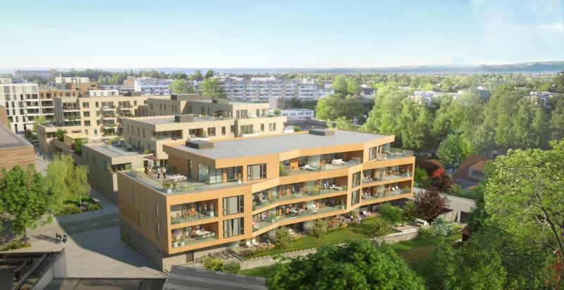 VIllaP blir en fin overgang mellom tunbebyggelsen i Presterud Gård og den nye Bekkestua bysentrum