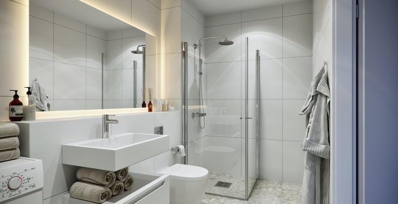 Alle baderom har innfelt belysning, storformat fliser og vegghengte WC.