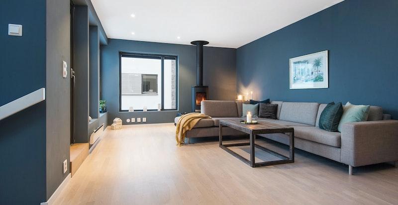 Romslig stue med god plass til større sofagruppe