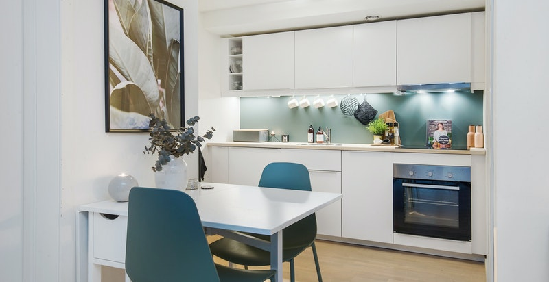 Det er montert nytt kjøkken i hybeldelen i 2017