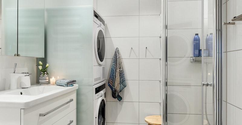 Opplegg og plass for vaskesøyle på baderommet