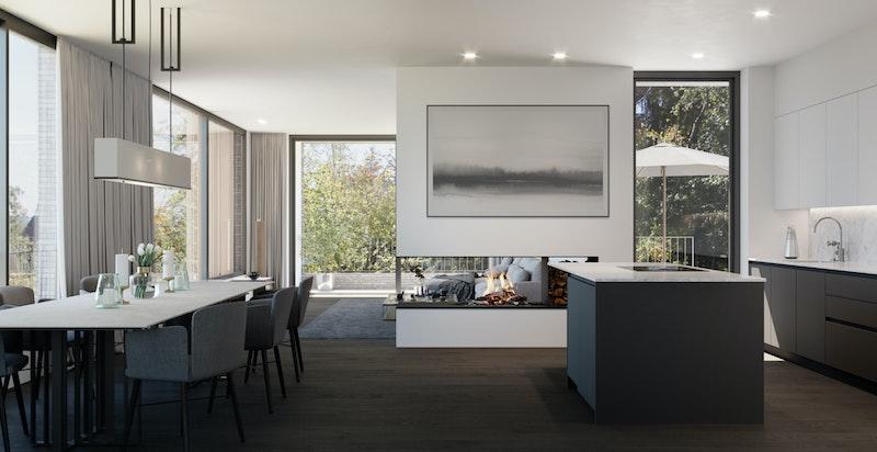 Stue i åpen løsning med spisestue og kjøkken - 3D bilder er basert på arkitekttegninger og kun ment som illustrasjon
