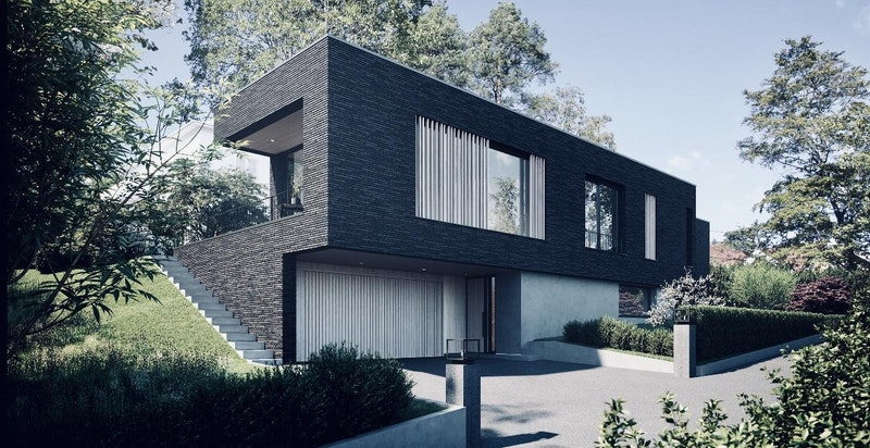 Integrert garasje i boligen - 3D bilder er basert på arkitekttegninger og kun ment som illustrasjon