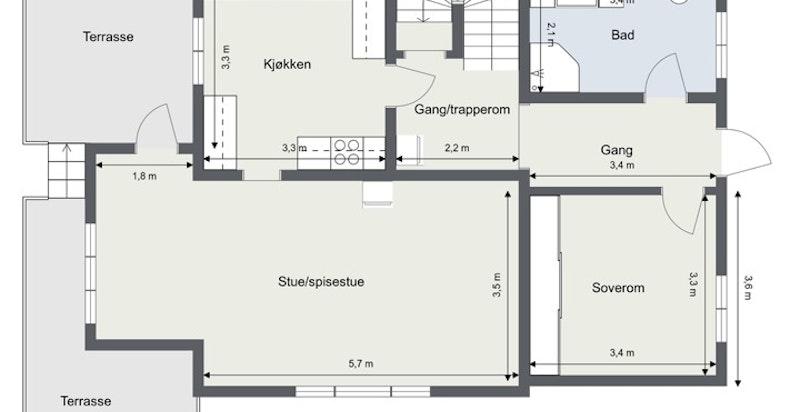 1. etasje BRA 78 kvm/P-rom 78 kvm: Gang, bad, soverom, hall/trapperom med ildsted, kjøkken med spiseplass og stue/spisestue med ildsted og utgang til terrasse.