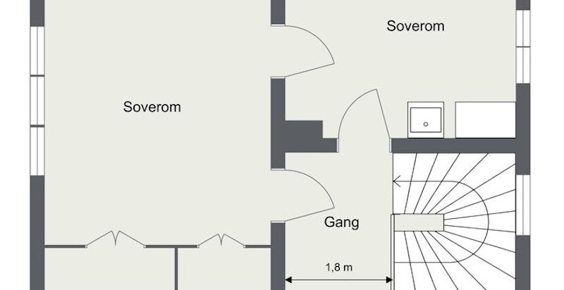 2. etasje BRA 41 kvm/P-rom 41 kvm: Trapperom, gang og 2 soverom.