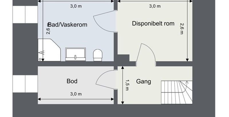 Kjeller BRA 27 kvm/P-rom 21 kvm/S-rom 6 kvm: Gang/trapperom, bod, disponibelt rom og vaskerom/bad.