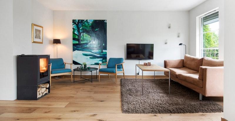 Stuen med hyggelig peisovn fra RAIS - modell Q tee