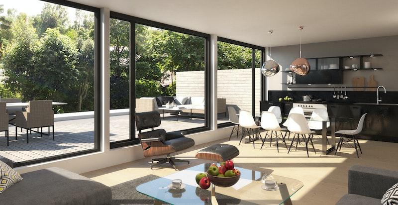 Stue med utgang til terrasse og hage. Illustrasjon fra rammetillatelse. Animert før tillatelsen om endring fra 5 til 7 enheter kom.