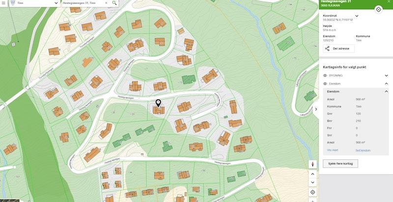 Hestegrøvegen 31 zoomet inn på kommunekart.com