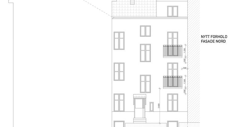 Arkitekttegning av balkong