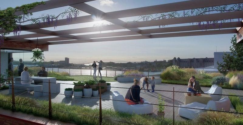 Felles takterrasse til fritt bruk for beboere (illustrasjonsfoto). Her er det svært gode solforhold og flott utsikt.