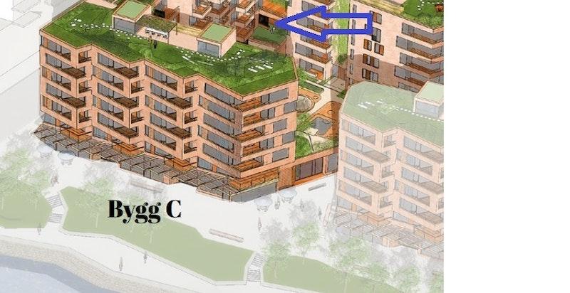 Leiligheten ligger i 2. etasje og har heisadkomst.