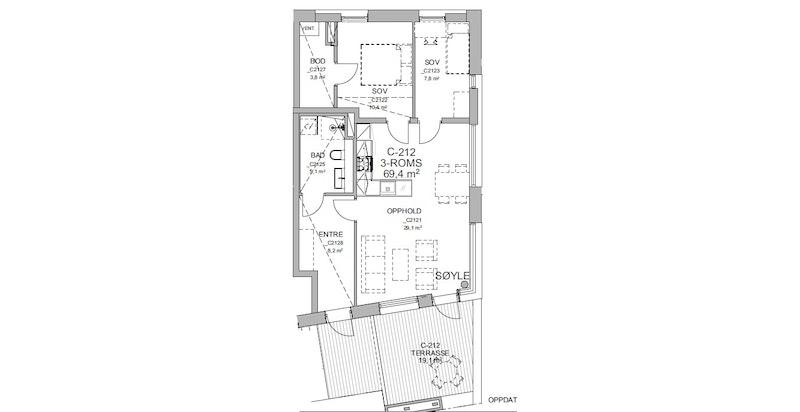 Plantegning - arealeffektiv og med åpen stue-/kjøkkenløsning. Praktisk innvendig bod på 3,8 kvm.