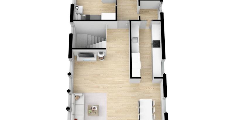 Planskisse 1. etasje som er hovedetasjen
