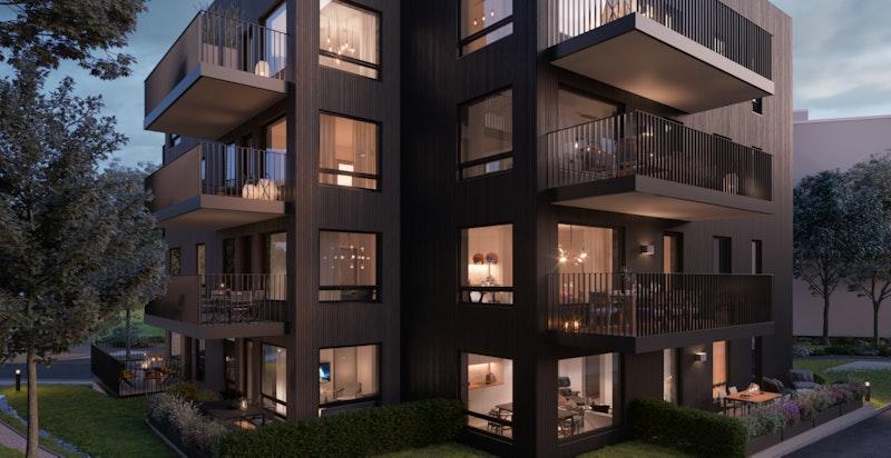 Bebyggelsen er tilpasses de naturskjønne omgiveler som omgir prosjektet