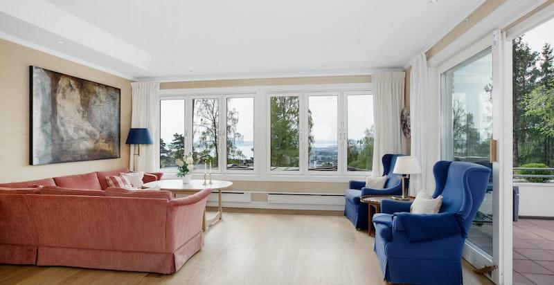 Stue med store vindusflater og adkomst til terrasse