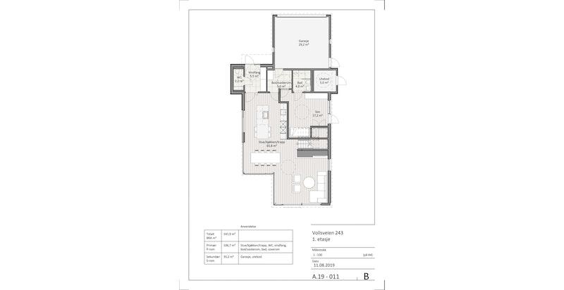 Plantegning 1. etasje hus A og B