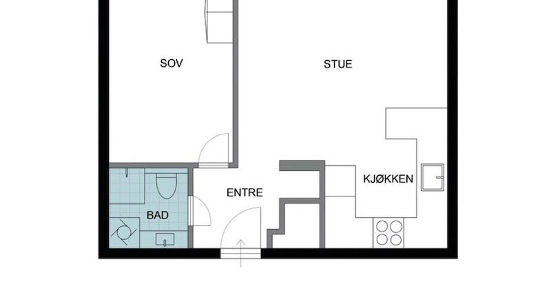 Plankisse 3. etasje. Leiligheten disponerer i tillegg kjellerbod