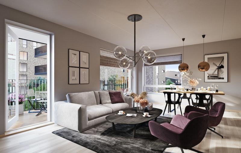 Leiligheten har stor stue/kjøkken med lys fra 2 sider og utgang til stor balkong