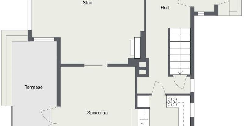 1. etasje: Entré, hall, trapperom, kjøkken med spiseplass og separat utgang til gårdsplass, stue med peis og spisestue med utgang til terrasse og hage.