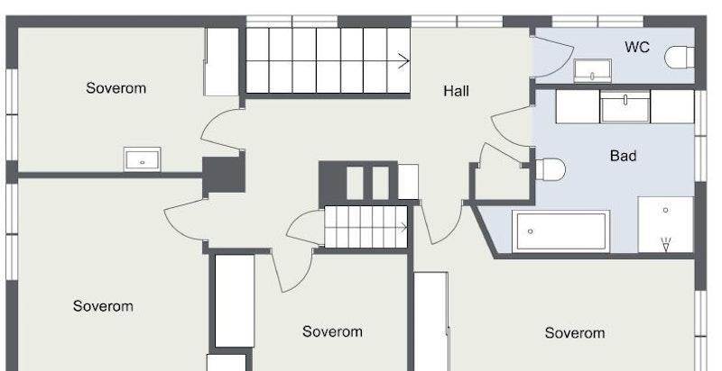 2. etasje: Trapperom, gang, wc, bad, trapperom til loft og 4 soverom. Ett soverom med utgang til balkong.