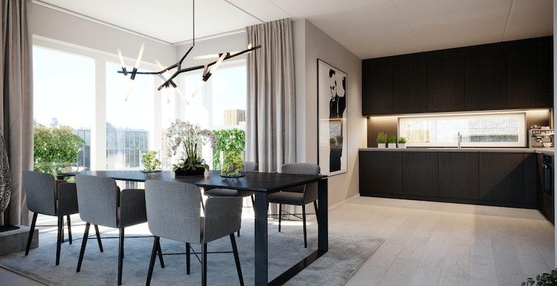 B-401 - lyshjørneleilighet med delvis avdelt kjøkken med egen balkong