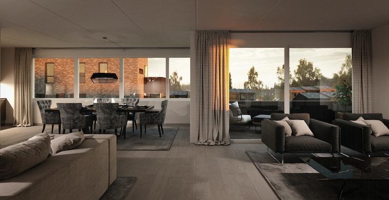 A-501 - toppleiligheter har ekstra store vinduer som gir flott utsikt og masse lys inn i leiligheten.