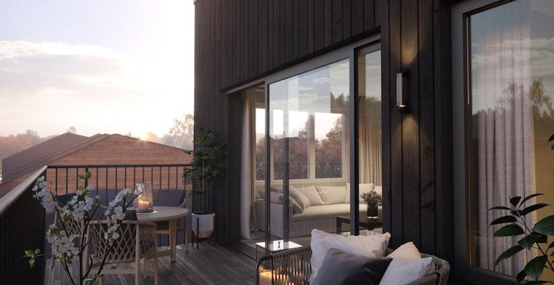 Alle leiligheter har store sydvendte balkonger