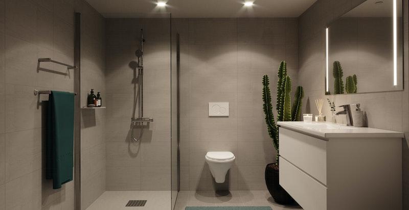 Det leveres lekre tidsriktige bad med storformat fliser.