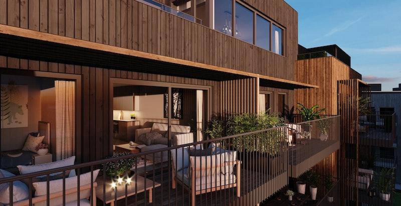 Store private balkonger som er skjermet med spilevegger for å hindre innsyn.