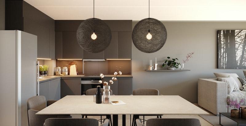 Kjøkken i A-403 - viser mulige tilvalg i farger og kjøkkeninnredning