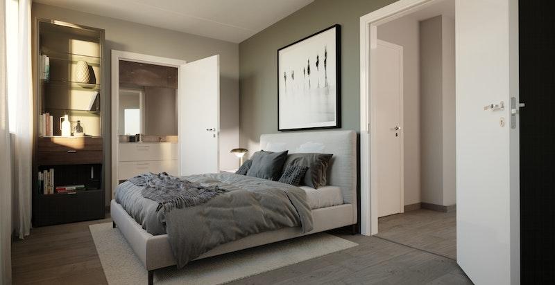 Mange av leilighetene har eget dusjbad tilknyttet hovedsoverom (A-104).
