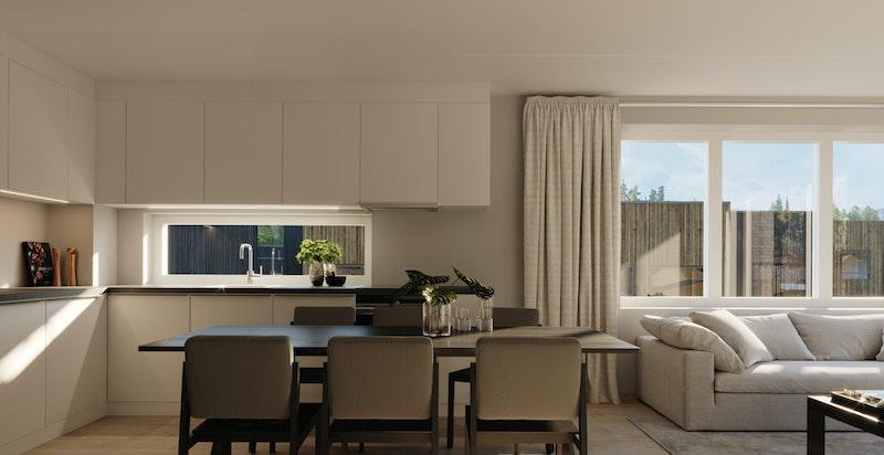A-406 Mange kjøkken har et vindu mellom over og underskap som gir ekstra lys.