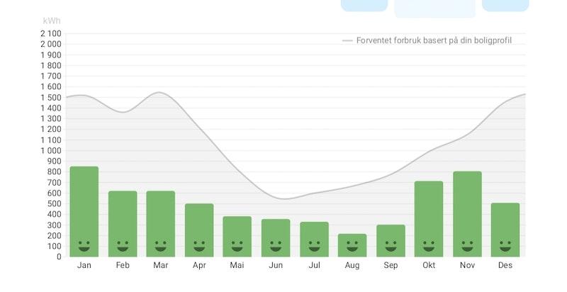 Nåværende eiers strømforbruk for hele 2018.