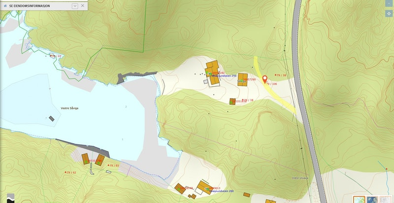 Kart over tilleggseiendom markert gult - bnr 106