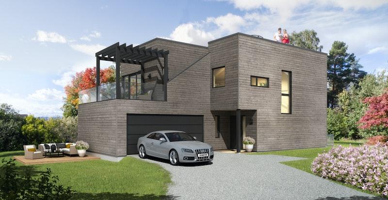 Adkomst til boligen med parkering i 1. plan - Bildet er kun illustrasjon