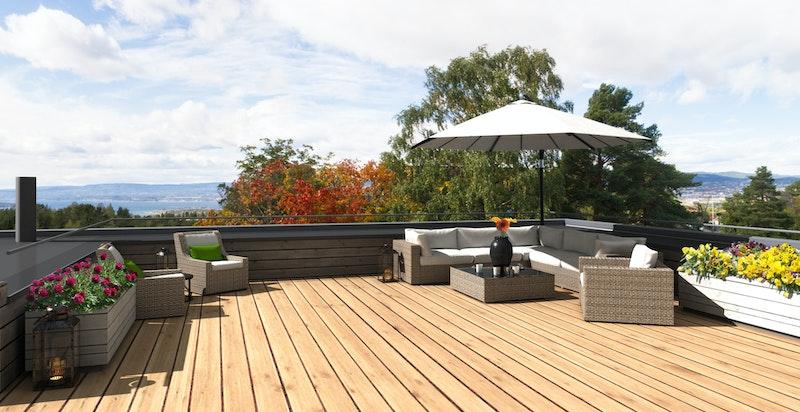 Takterrasse med sjøutsikt og gode solforhold - Bildet er kun illustrasjon