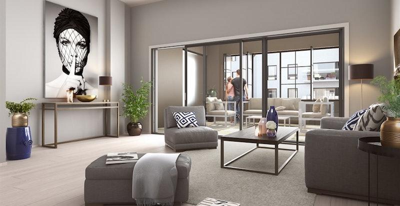 Velkommen Fyrstikkalleen 17, leilighet 303 - Ny 4-roms med solrik vinterhage, ekstra takhøyde og god standard i unikt boligprosjekt. Vannbåren gulvvarme, heis og attraktiv beliggenhet i nye Ensjøbyen. (kun ment som illustrasjon av stue av annen leilighet)