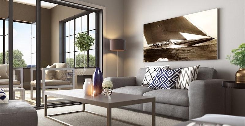 Leiligheten blir gjennomgående med fokus på god standard og høy bokvalitet i alle rom, hvor takhøyden blir i det vesentligste over 3,2m! (kun ment som illustrasjon av stue til annen leilighet)