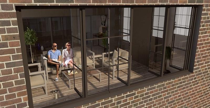 """Fra stuen er det adkomst til vinterhage på 9,5 kvm med stor bruksanvendelse. """"Utefølelsen"""" bevares med store vinduer som kan åpnes for å slippe solen inn. (kun ment som illustrasjon)"""