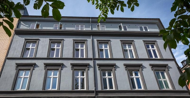 Fasaden ble pusset opp i 2018